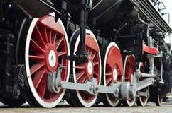 Trate las ruedas del tren con vapor Fotografía de archivo libre de regalías