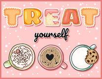 Trate-se cartão engraçado bonito com os copos de bebidas doces Canecas de café bonitos com o aviador de tentação da inscrição ilustração stock