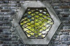 Trational-Ziegelsteinfenster im chinesischen Garten Lizenzfreie Stockfotos