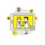 Trato del hombre de negocios en la tableta arte del ejemplo del vector del concepto del negocio Imagen de archivo