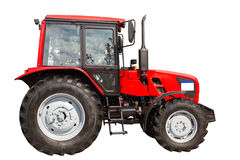 Trator agrícola novo isolado no fundo branco com clipp fotos de stock