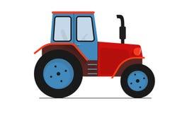 Trator azul vermelho na ilustração lisa branca do vetor Imagem de Stock