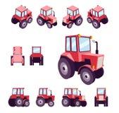 Trator de exploração agrícola vermelho, dos ângulos diferentes Vetor do molde do veículo isolado no branco Veja dianteiro, trasei Foto de Stock