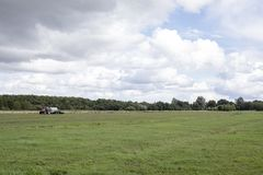 Trator de exploração agrícola vermelho em um campo agrícola com um céu nebuloso imagens de stock royalty free