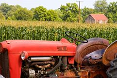 Trator de exploração agrícola vermelho velho Fotografia de Stock Royalty Free