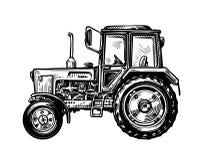 Trator desenhado à mão do caminhão da exploração agrícola Ilustração do vetor do esboço do transporte