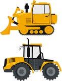 Trator e uma escavadora Fotografia de Stock