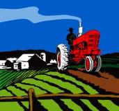 Trator que ara a exploração agrícola Fotografia de Stock Royalty Free