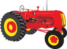 Trator vermelho completo da construção do trator Fotos de Stock Royalty Free