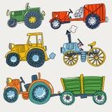 Tratores agrícolas da garatuja em um fundo branco Ilustração Royalty Free