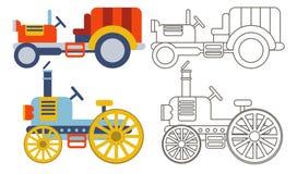 Tratores agrícolas retros da garatuja Ilustração Stock
