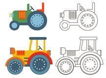 Tratores agrícolas retros da garatuja Ilustração Royalty Free