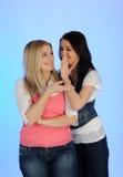 Tratsch mit zwei junger hübscher Mädchen Lizenzfreies Stockfoto