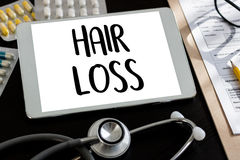 trattamento calvo della medicina del haircare di perdita dell'aria di alopecia, perdita di capelli Fotografia Stock Libera da Diritti