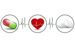 Trattamento del cuore con il concetto delle pillole Immagine Stock Libera da Diritti