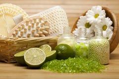 Trattamento della stazione termale - strumenti del sale e di massaggio di bagno Immagini Stock