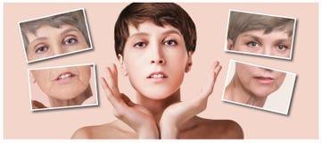 Trattamento di bellezza e antinvecchiamento, invecchiamento e gioventù, sollevanti, skincare, concetto della chirurgia plastica immagine stock