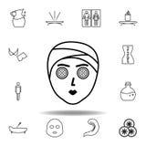 Trattamento facciale dall'icona del profilo della stazione termale Insieme dettagliato della stazione termale e rilassarsi l'icon illustrazione di stock