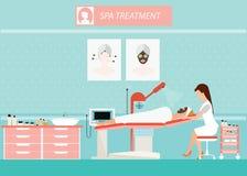 Trattamento facciale di massaggio di bellezza della pelle del fronte illustrazione di stock
