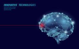 Trattamento poli 3D basso del cervello rendere Salute mentale astuta dello stimolante umano nootropic di abilità della droga Medi illustrazione vettoriale