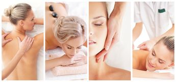 Trattamento tradizionale di sanità e di massaggio in stazione termale Giovani, belle e ragazze in buona salute che hanno terapia  fotografie stock libere da diritti