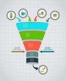 Trattflödesdiagram Infographic mall Designbegrepp för presentation, runt diagram eller diagram eps10 blommar yellow för wallpaper Arkivbilder