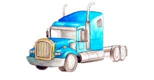 Trattore americano blu dell'autoarticolato dell'acquerello senza contenitore su un fondo bianco isolato per la logistica o illustrazione di stock
