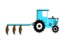 Trattore blu con tre aratri Immagine Stock