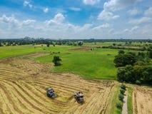 Trattore che guida sopra il giacimento del riso sul raccolto Fotografia Stock Libera da Diritti