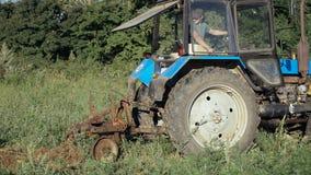 Trattore che lavora al giacimento della patata Raccogliendo le patate con per mezzo del trattore Fotografia Stock Libera da Diritti