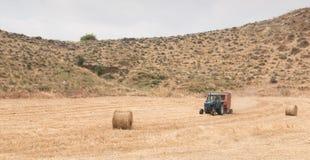 Trattore che raccoglie nel giacimento di cereale Fotografia Stock Libera da Diritti