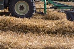 trattore che rivolta il fieno paglia sul campo di grano di estate Fotografia Stock
