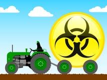 Trattore che tira l'icona di biohazard illustrazione di stock