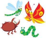 Trattore a cingoli, farfalla, libellula e scarabeo Fotografia Stock
