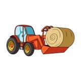 trattore con una siviera che trasporta la balla di fieno Veicoli agricoli Singola icona del macchinario agricolo nel fumetto Immagini Stock