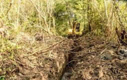 Trattore dell'escavatore che scava un canale per l'acqua nel legno Fotografia Stock