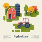 Trattore e granaio sull'azienda agricola Concetto agricolo di industria Stile piano con le ombre lunghe Pulisca la progettazione Fotografia Stock