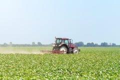 Trattore nel campo verde Macchina di agricoltura Fotografie Stock Libere da Diritti