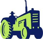 Trattore organico di Driving Vintage Farm dell'agricoltore illustrazione di stock