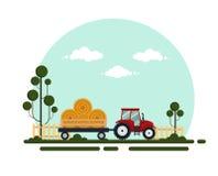 Trattore rosso piano con un fieno del carretto I trasporti del macchinario agricolo per l'azienda agricola con il mucchio di fien illustrazione vettoriale