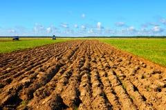 Trattore su un campo del coltivatore Immagine Stock Libera da Diritti