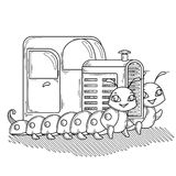 Trattore sui due allegri e sui trattori a cingoli amichevoli royalty illustrazione gratis