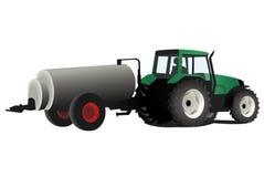Trattore verde con fertilizzante Fotografia Stock Libera da Diritti