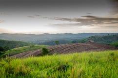 Trattori agricoli della montagna per i raccolti di piantatura E parzialmente covere Fotografia Stock