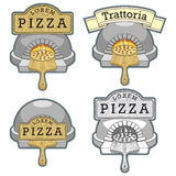 Trattoria pizza oven emblem design vector Royalty Free Stock Photography
