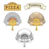 Trattoria pizza oven emblem design vector Royalty Free Stock Photo