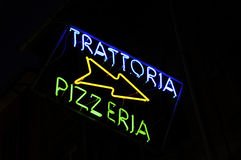Trattoria and pizzeria neon sign Stock Images