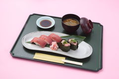 Trau meal of sushi and miso soup in Japanese style in white background Royalty Free Stock Images