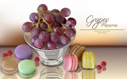 Trauben Frucht und Makronen Vektor realistisch Menüschablone der Einzelkarte 3d köstliche Nachtischplakate Hyperrealism vektor abbildung
