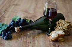 Trauben mit Wein und Crackern Stockbilder